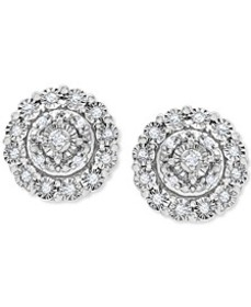 Diamond Halo Cluster Stud Earrings (1/10 ct. t.w.)