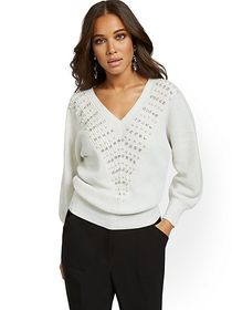 Embellished V-Neck Dolman Sweater - New York & Com
