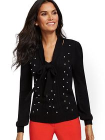 Embellished Tie-Neck Sweater - New York & Company