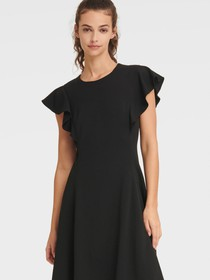 Donna Karan RUFFLE CAP SLEEVE FIT-AND-FLARE DRESS