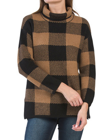 TAHARI Buffalo Plaid Doubleknit Sweater Tunic