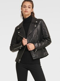 Donna Karan QUILTED LEATHER MOTO JACKET