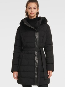 Donna Karan BELTED PUFFER WITH FAUX FUR TRIMMED HO