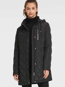 Donna Karan QUILTED CINCHED-WAIST JACKET