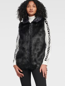 Donna Karan HOODED PUFFER VEST WITH FAUX FUR FRONT