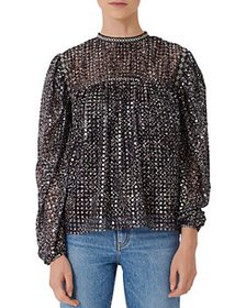 Maje - Limix Sequinned Top with Embroidery