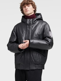Donna Karan LEATHER BOMBER WITH HOOD