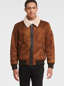 Donna Karan FAUX SUEDE BOMBER WITH SHERPA LINING