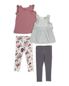 TAHARI Toddler Girl 4pc Ruffle Tank & Legging Set