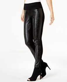 INC Curvy Faux-Leather Front Leggings, Created for