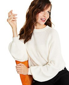 Cashmere Brushed Balloon-Sleeve Sweater, Created f