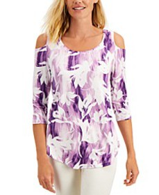 Cold-Shoulder 3/4-Sleeve Top, Created for Macy's