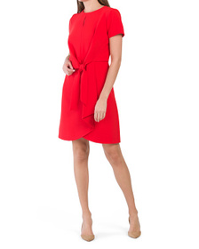 TAHARI BY ASL Tie Front Dress With Keyhole Neck
