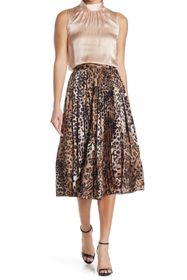 SEVENTY VENEZIA Pleated Animal Print Midi Skirt