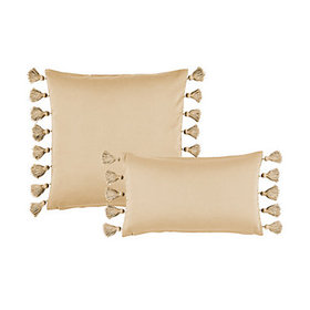 Tassel Trim Twill Pillow Cover - Select Colors