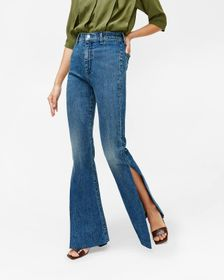 7 For All Mankind High Slit Flare Jean in Retro Br