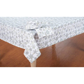Scattered Snowflake Print Tablecloth