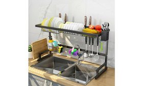 2 Tier Stainless Steel Dish Drying Rack Over Sink