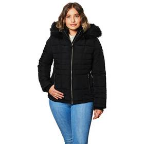 Womens Calvin Klein Short Puffer Jacket with Faux