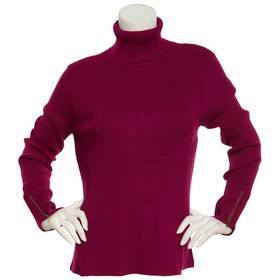 Womens Retrology Ribbed Turtleneck Zippered Sleeve