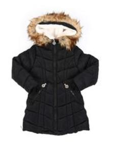 DKNY Jeans quilted faux fur trim hood long puffer