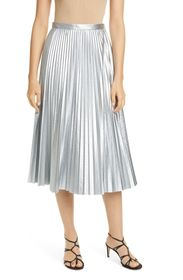Tibi Metallic Pleated Skirt