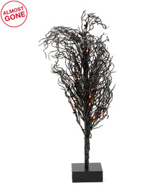 24in Glittered Led Tree With Wood Base