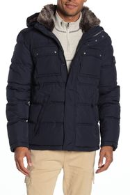 Cole Haan Faux Fur Trim Hooded Zip Puffer Jacket
