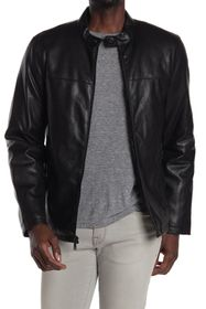 DKNY Faux Leather Stand Collar Jacket