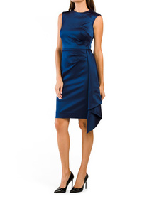 Stretch Satin Ruched Side Cap Sleeve Dress