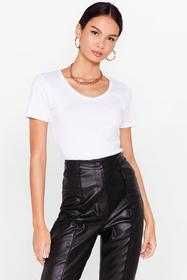Nasty Gal White It's Just That Simple V-Neck Tee