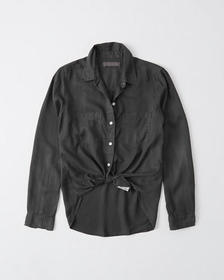 Long-Sleeve Button-Up Utility Shirt, DARK GREY