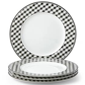 Lenox Totally Tikaa Black & White Gingham Dinner P