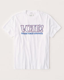 Vote Relaxed Graphic Tee, WHITE