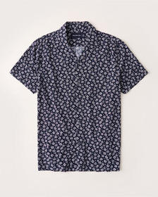 Short-Sleeve Camp Collar Button-Up Shirt, NAVY AND