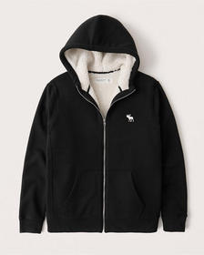 Sherpa-Lined Full-Zip Exploded Icon Hoodie, BLACK