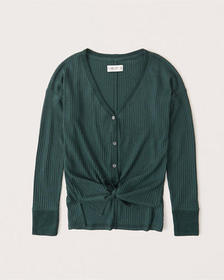 Cozy Waffle Button-Up Top, DARK GREEN