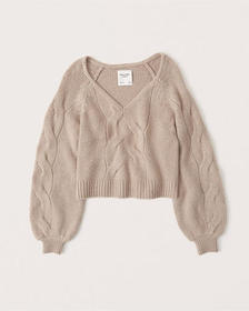 Slouchy Cable Sweater, beige