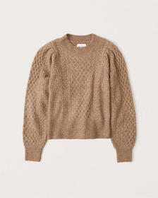Cable Knit Sweater, camel brown
