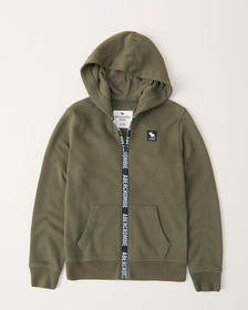 full-zip logo tape zipper hoodie, DARK GREEN