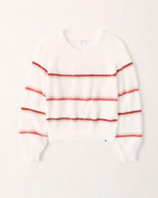 stripe v-neck sweater, WHITE STRIPE