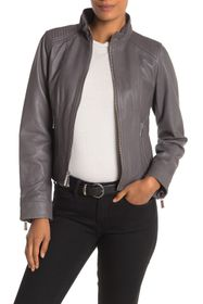 MICHAEL Michael Kors Leather Zip Front Moto Jacket
