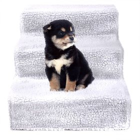 Jaxpety White Pet Stairs 3 Steps Indoor Dog Cat St