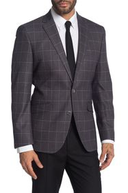 Kenneth Cole Reaction Front Two Button Grid Print