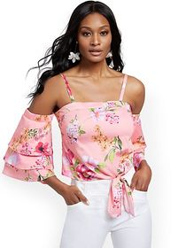 Tiered-Sleeve Off-The-Shoulder Top - 7th Avenue -