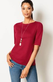 Simply Supima® Elbow-Sleeve Tee