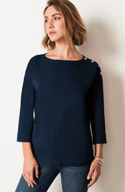 Relaxed Buttoned-Shoulder Tee
