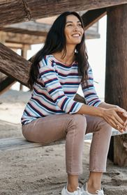 Textured Striped Boat-Neck Top