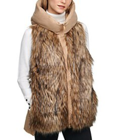 Hooded Faux Fur Puffer Vest