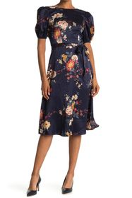 London Times Floral Puff Sleeve Satin Jacquard Dre